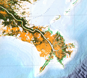 Map showing land lost on Mississippi Delta up to 2005, at a rate of a football field per hour