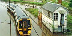 Railway tracks flooding outside the town of Elgin, Illinois