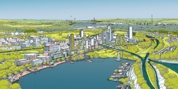 Artists rendition of Ebbsfleet housing development.