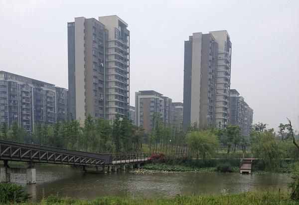 A photograph of the Ningbo eco-corridor and cityscape