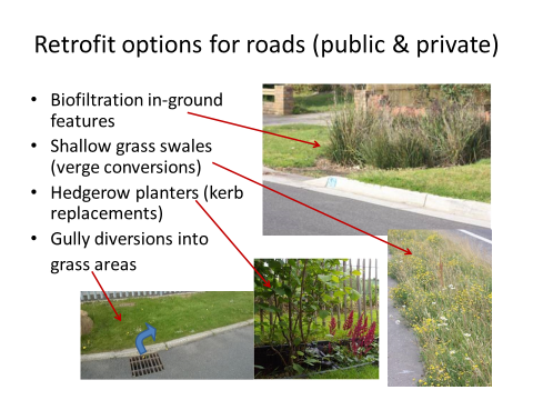 Figure 2. Photos and text discussing SuDS Retrofit options for roads at Houston Industrial Estate (West Lothian, Scotland).