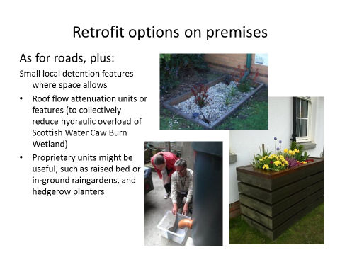 Figure 3. Photos and text discussing SuDS Retrofit options for industrial premises at Houston Industrial Estate (West Lothian, Scotland).