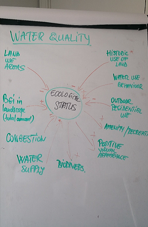 A photograph of the discussions around the problem dimension water quality.
