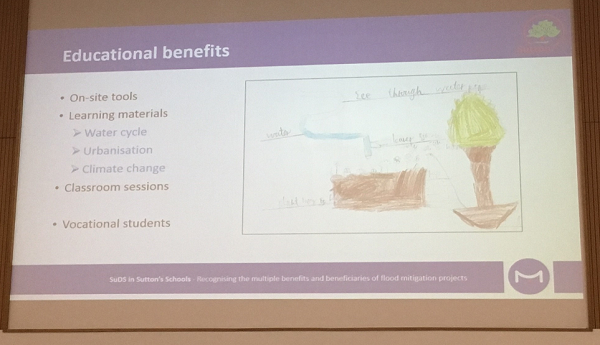 A photograph of Danielle Parfitt's presentation on SuDS in Sutton's Schools and the educational benefits|