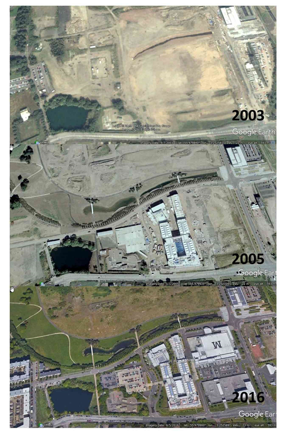 Google Earth Aerial images of the Granton Ponds