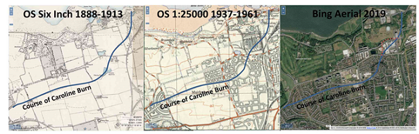 Images of old OS maps and an aerial image from maps.nls.uk. Maps are overlaid with the course of the Caroline Burn.