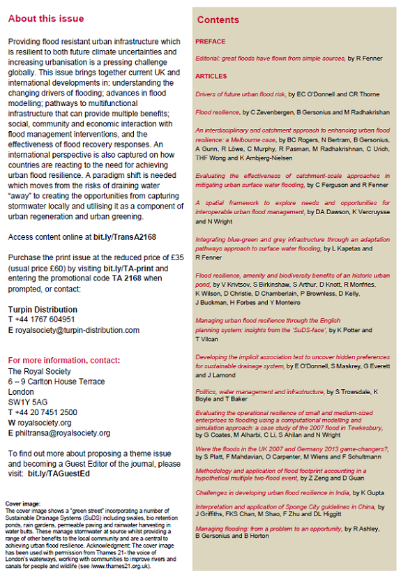 Details of the urban flood resilience special issue