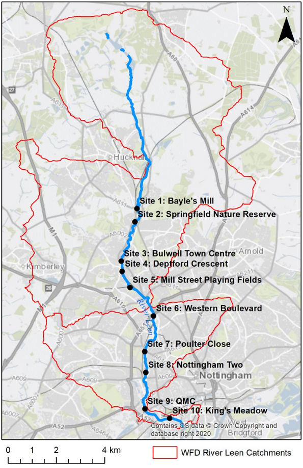 A map of the sampling sites along the River Leen
