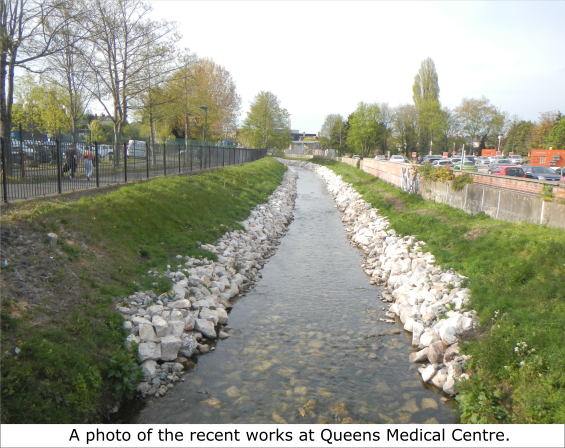 A photo of recent works along the River Leen at the Nottingham Queen's Medical Centre