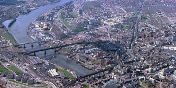 Aerial View of Newcastle upon Tyne, showing River Tyne, urbanisation and central business district.
