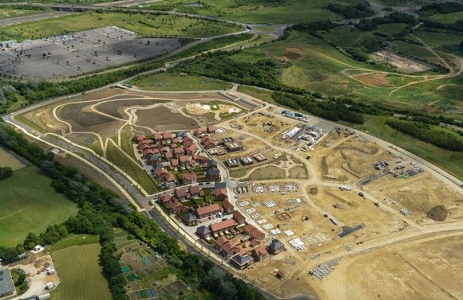 Features image showing an aerial view of part of the Ebbsfleet development.