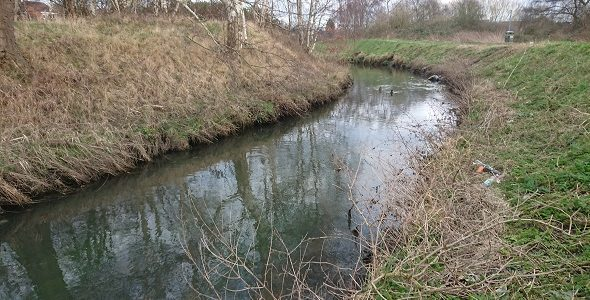 A photograph of the River Leen, Nottinghamshire (open watercourse with vegetated banks)