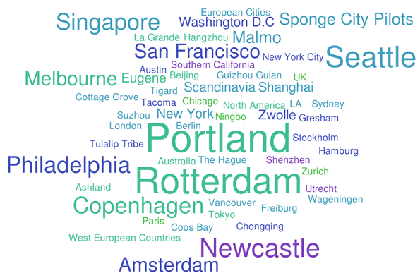 A word cloud detailing cities acknowledged by our questionnaire respondents as leading in Blue-Green infrastructure implementation.