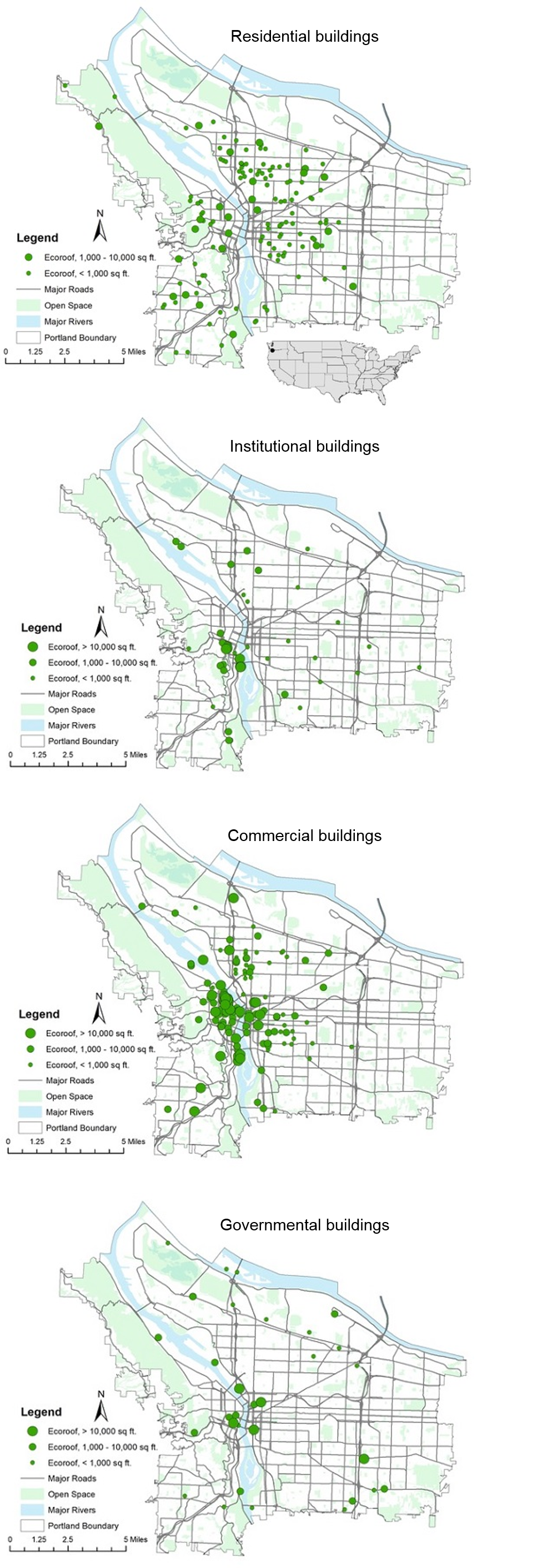 Figure 4. Ecoroof Location in Portland by Building Use (Source: Portland State University, Portland's Greenroof information Thinktank (GRiT), and Portland State University's Home Ecology Research (HERE) Lab).