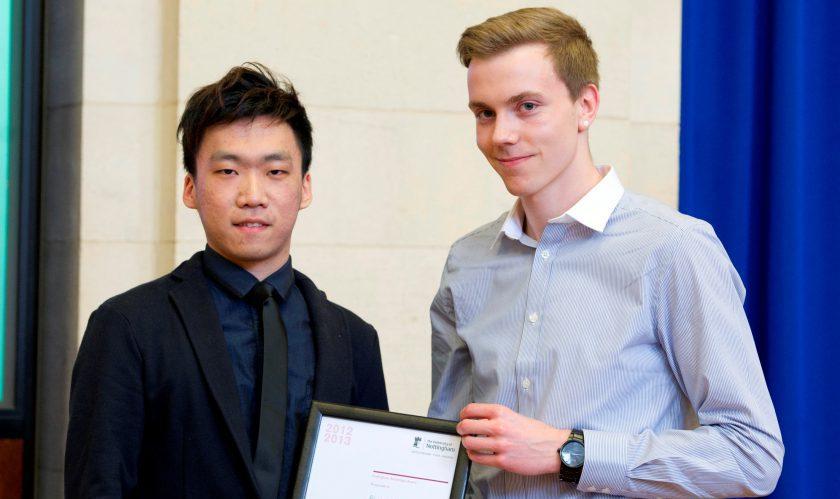 Alan Chan receives his Nottingham Advantage Award prize