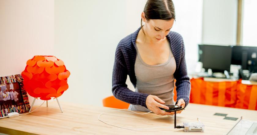 Student using a Raspberry Pi sensor