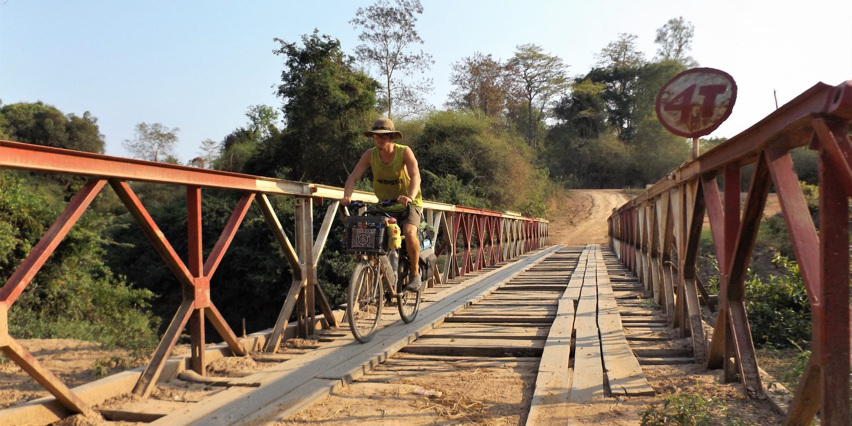 Bridge crossing in Laos
