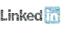 A collage of the LinkedIn logo made up together to write the LinkedIn logo