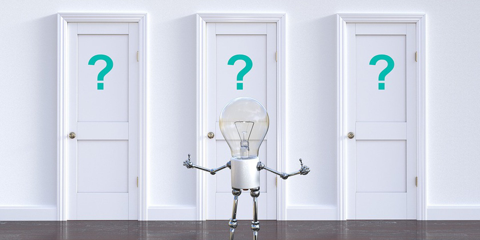 lightbulb character pondering which door to take to his next step