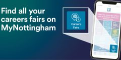 Our tile on the MyNottingham app jumping our of the mobile phone