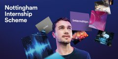 Nottingham Internship Scheme promotion. A man standing surrounded by multiple sloating boxes containing internships skills and inspirational images.