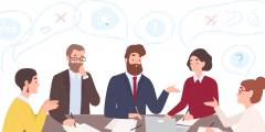 Cartoon image of staff talking in an office