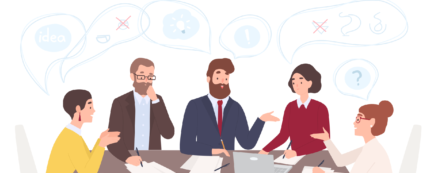 Cartoon image of staff talking in an office