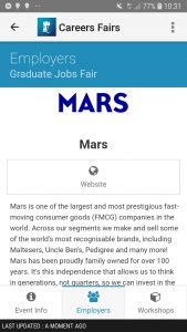 Mars information on MyNottingham App