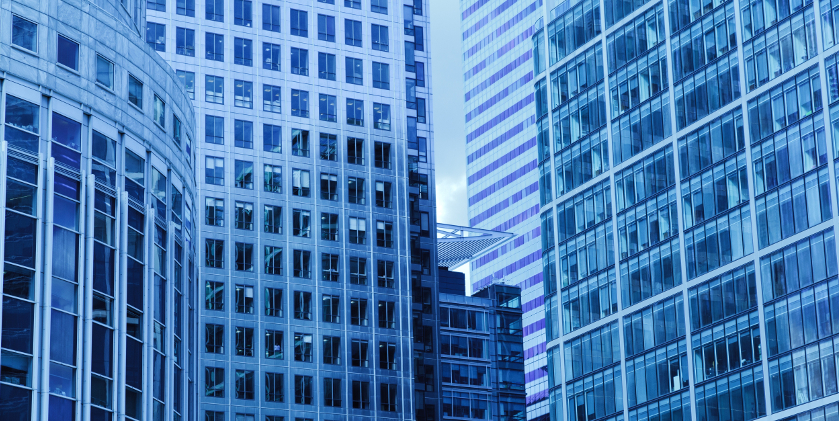 Tall buildings in a commercial setting
