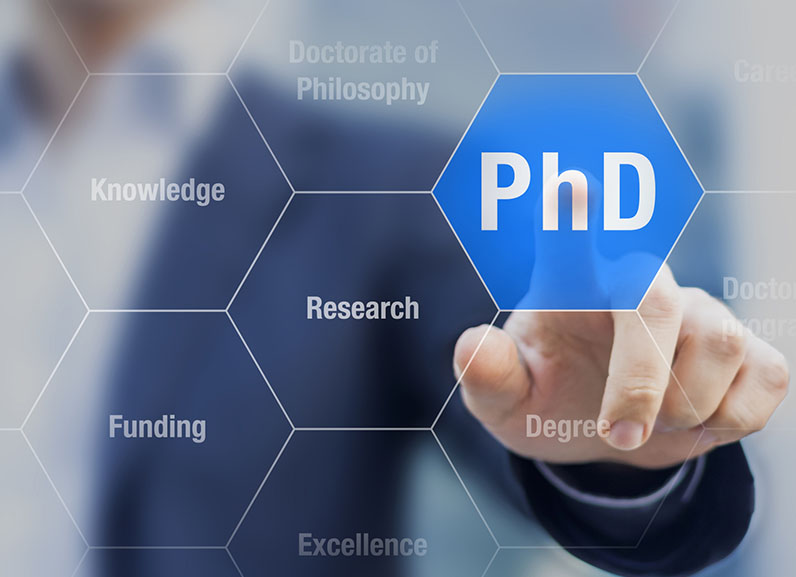 PhD student pushing button about Doctorate of Philosophy concept