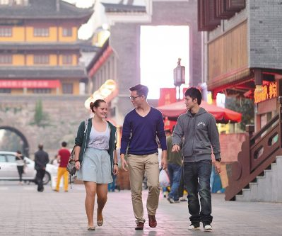 Students walking abroad