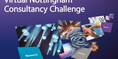 Flying tile imagery with Virtual Nottingham Consultancy Challenge text