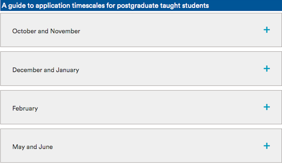 Monthly schedule for PGT Application timelines