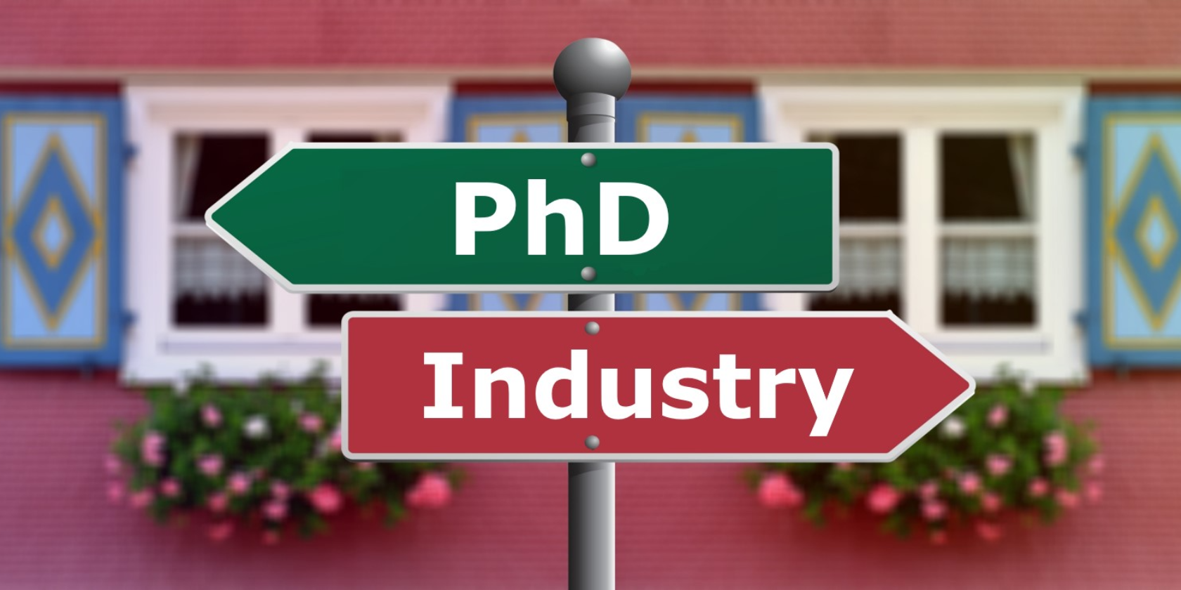 A signpost with the word PhD pointing left and another signpost with the word industry posting right
