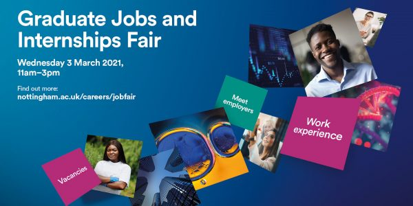 Various images for the Graduate Jobs and Internships Fair 3 March 2021