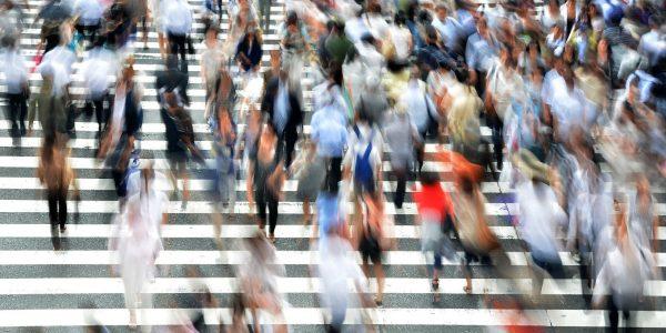 Pedestrians rushing around