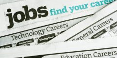 Job adverts in a newspaper