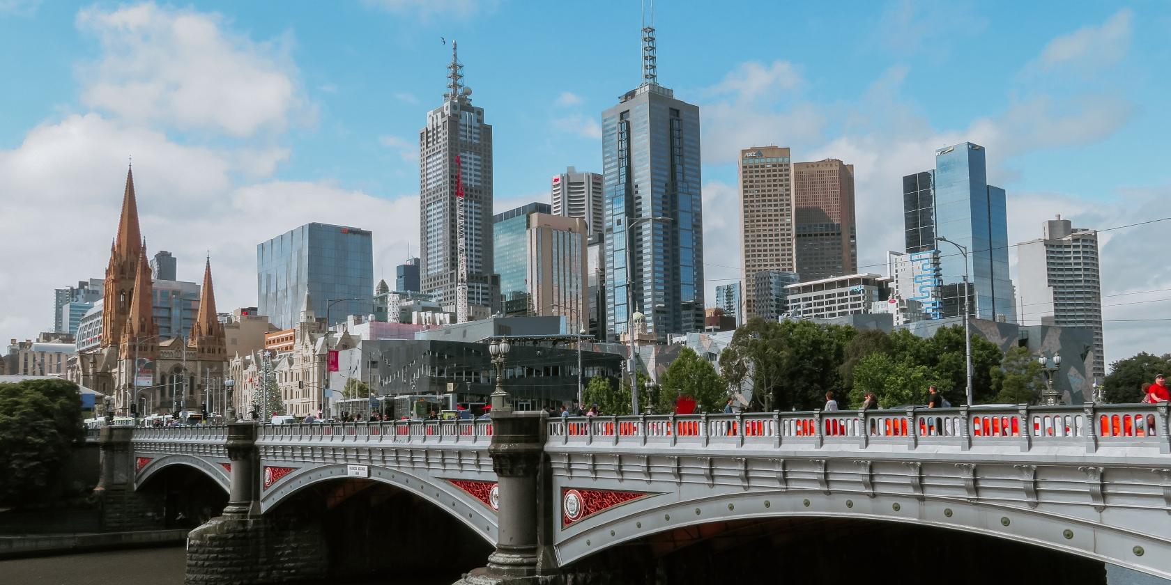 Melbourne skyline in Australia