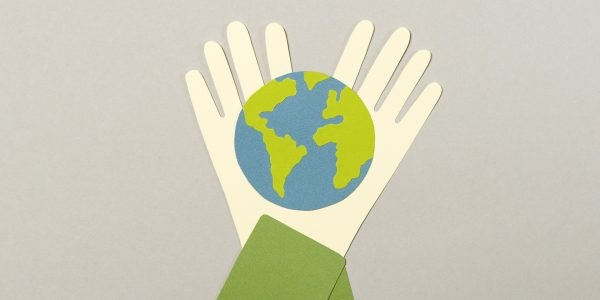animated image of two hands holding a world.
