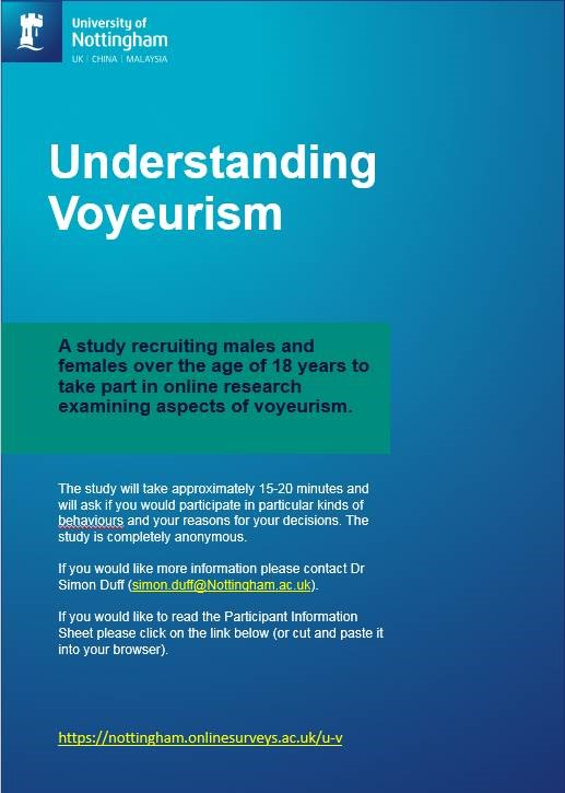 Poster inviting adults (over the age of 18) to complete a study about understanding voyeurism