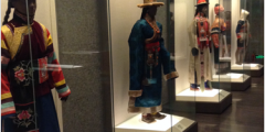 Traditional garments of ethnic minorities in China displayed in the Shanghai Museum. Gladney (1994) argues that ethnic minorities are 'marked', such as here in exotic dress, whereas the Han are 'unmarked' through either modern dress or, as here, not displayed as they are the majority.