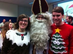 Two undergraduate students meet Sinterklaas.