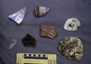 A photograph of five pieces of pottery and two oyster shells.