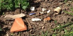 Photograph of pieces of pottery in a flower bed. Including a piece of flower pot, a stoneware bottle neck, some bent and rusty nails and a small headless china doll