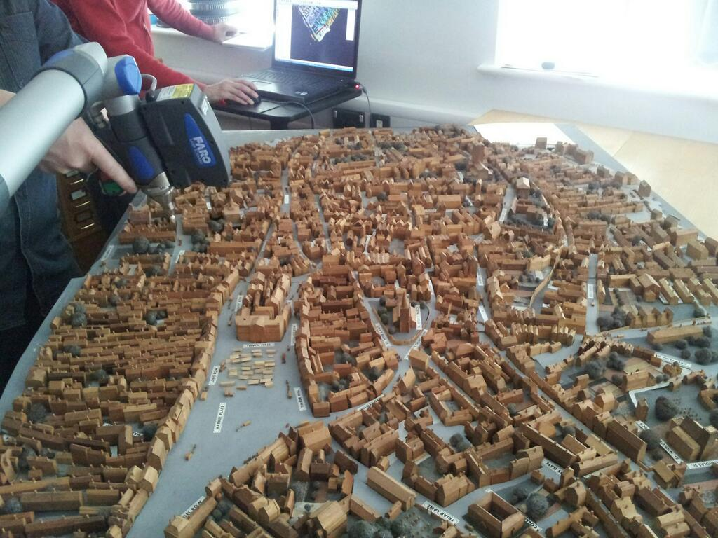 The DHC's Faro Arm is used to scan a landscape model of Nottingham in 1830.