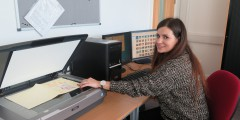 Rhiannon working on the ISYP Archive in DHC.