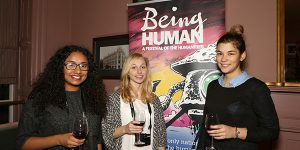 Being Human Festival launch event at Jamie Oliver's restaurant. Pictured; University of Nottingham students Nisha Chudasama, Rachel Britton, Tatiana Styliari. Picture by Andrew Hallsworth, Marlow Photographic.