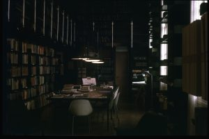 The Art Library 'Hogarth Room' in the Portland Building c.????, digitised slide from Humanities Collection.