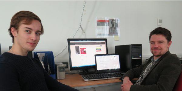 Photo of Jamie Shakespeare and Jack Strawbridge, the ISYP digitisation Team