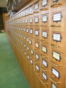 photograph of slide cabinets in Art History's previous location at the Lakeside Arts Centre.
